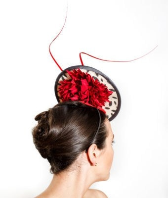 White and Charcoal Vintage Straw Cocktail Hat with Red Crysanthemums & Red Ostrich Barbs Back