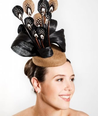 Coffee Felt Hat with Black Silk Abaca, Black and Coffee Duck Feathers with Pheasant and Guinea Trim_