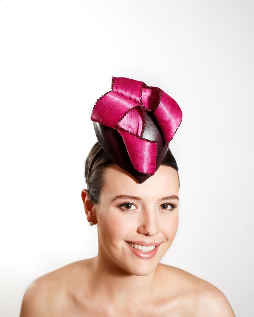 Aubergine Leather Cocktail Hat with Beaded Magenta Silk Abaca (Headband)