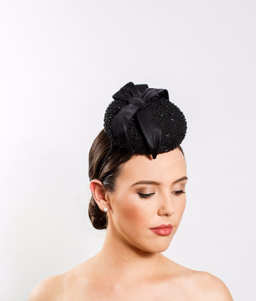 Beaded Black Cocktail Hat with Black Silk Leaves