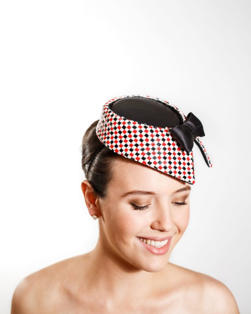 Black Leather Cocktail Hat with Beaded Collar and Black Tie (Headband)