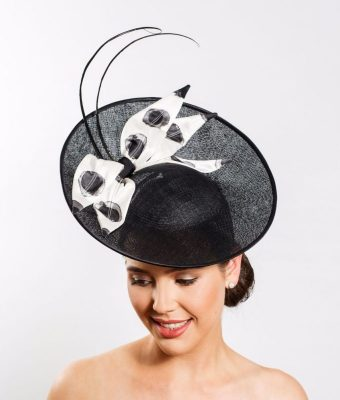 Black Sinamay Hat with Black and White Silk Leaves and Ostrich Barbs (Front)