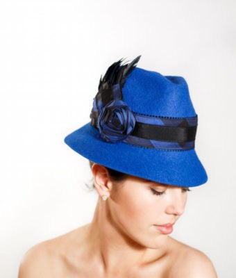Cobalt Blue Felt Fedora with Black & Blue Silk and Black Pedersham Trim and Black Goose Feathers