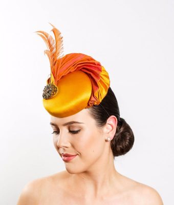 Gold & Salmon Pink Silk Cocktail Hat with Ostrich Feathers & Vintage Brooch