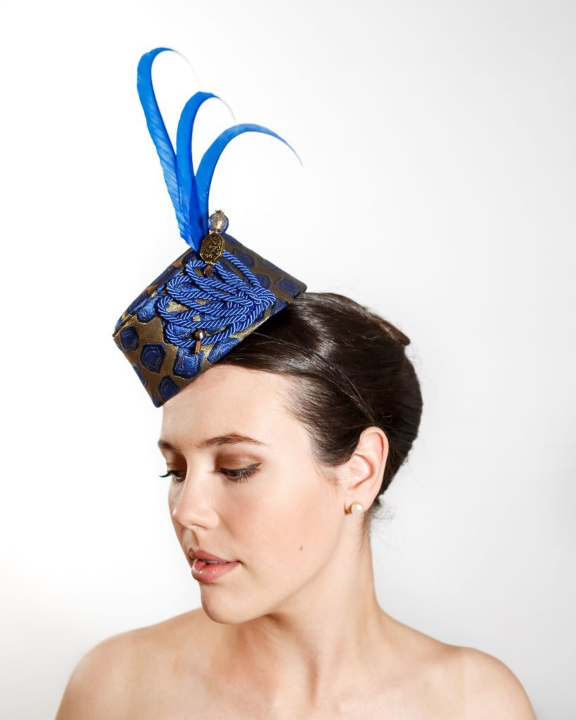 Gold and Blue Fez with Silk Trim, Hat Pin and Pheasant Feathers