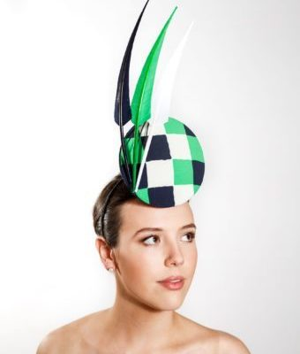 Navy, Green and White Silk and Sinamay Headpiece  with Turkey Feathers