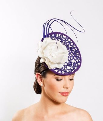 Purple Lace and Cream Silk Cocktail Hat with White Silk Magnolia