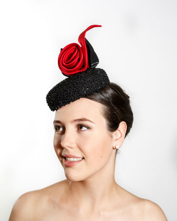 Black Beaded Cocktail Hat with Red Silk Roulade and Black Silk Abaca Leaves -bespoke