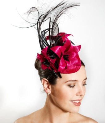 Berry Straw Cocktail Hat with Berry Silk Abaca Flowers, Black Barbs, Leaves and Feathers