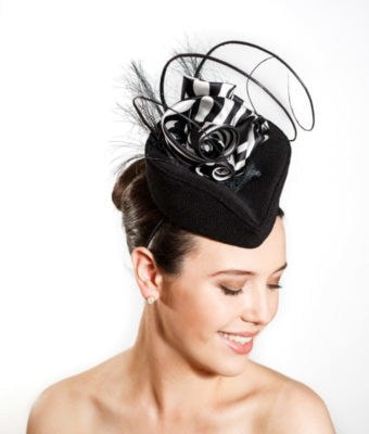 Black Cocktail Hat with Zebra Print Roulade & Ostrich Barbs