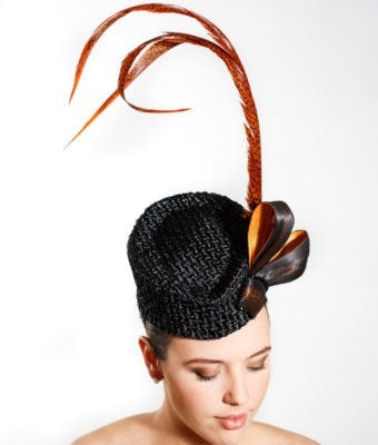 Black Cocktaill Hat with Orange and Black Silk Abaca Bow and Three Orange Pheasant Feathers