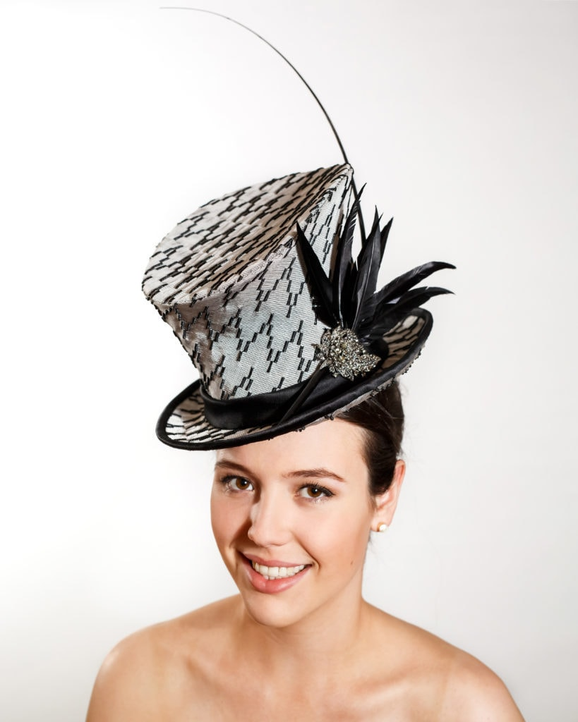 Black and Grey Top Hat with Black Goose Feathers, Ostrich Barb and Jewel