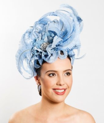 Blue Ostrich Feather Headpiece with Diamonte Flower