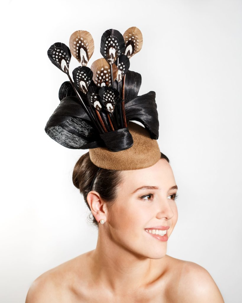 Coffee Felt Hat with Black Silk Abaca, Black and Coffee Duck Feathers with $300.00 Pheasant and Guinea Trim