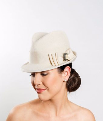 Cream Fur Felt Fedora with Pedersham Bow