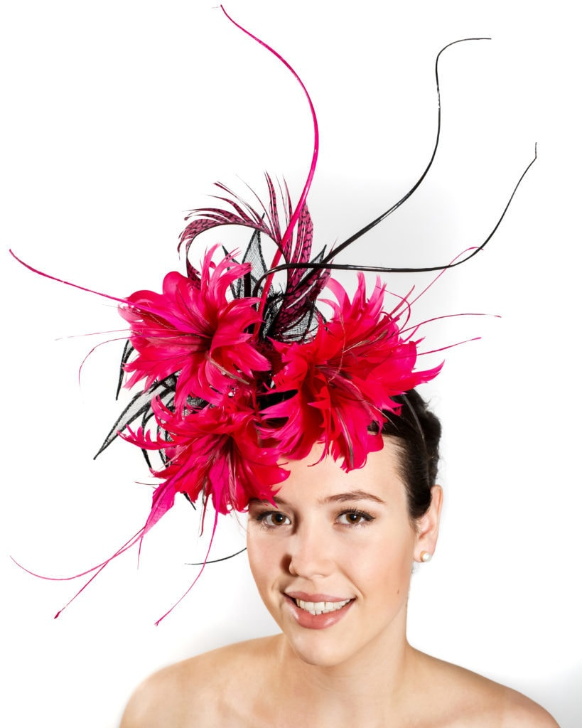 Fuchsia Feather Flowers on Headband with Ostrich Barbs, Pheasant Feather and Sinamay Leaves