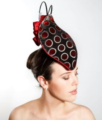 Grey Brown & Red Spotted Velvet Cocktail Hat with Red Silk Roses