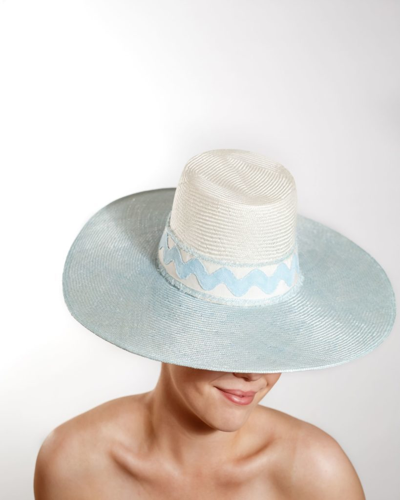 Ice Blue and White Straw Brim Hat with Straw, Pedersham, and Ric-Rac Trim