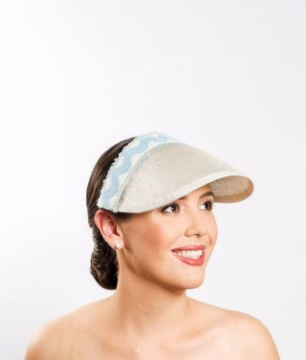 Ice Blue and White Straw Visor with Straw, Pedersham, and Ric-Rac Trim 2