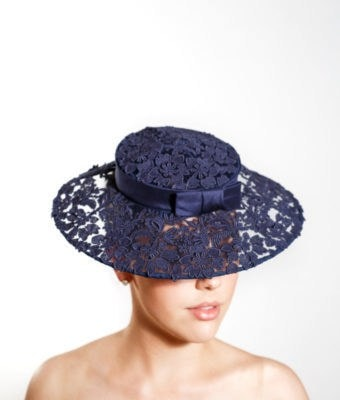 Navy Guipure Lace Hat with brim