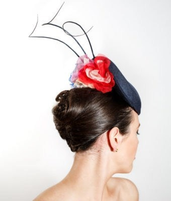 Navy Straw Cocktail Hat with Coloured Silk Flowers & Three Navy Ostrich Barbs Back