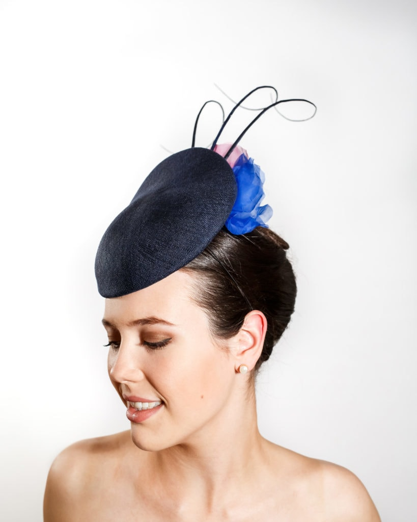 Navy Straw Cocktail Hat with Coloured Silk Flowers & Three Navy Ostrich Barbs Front
