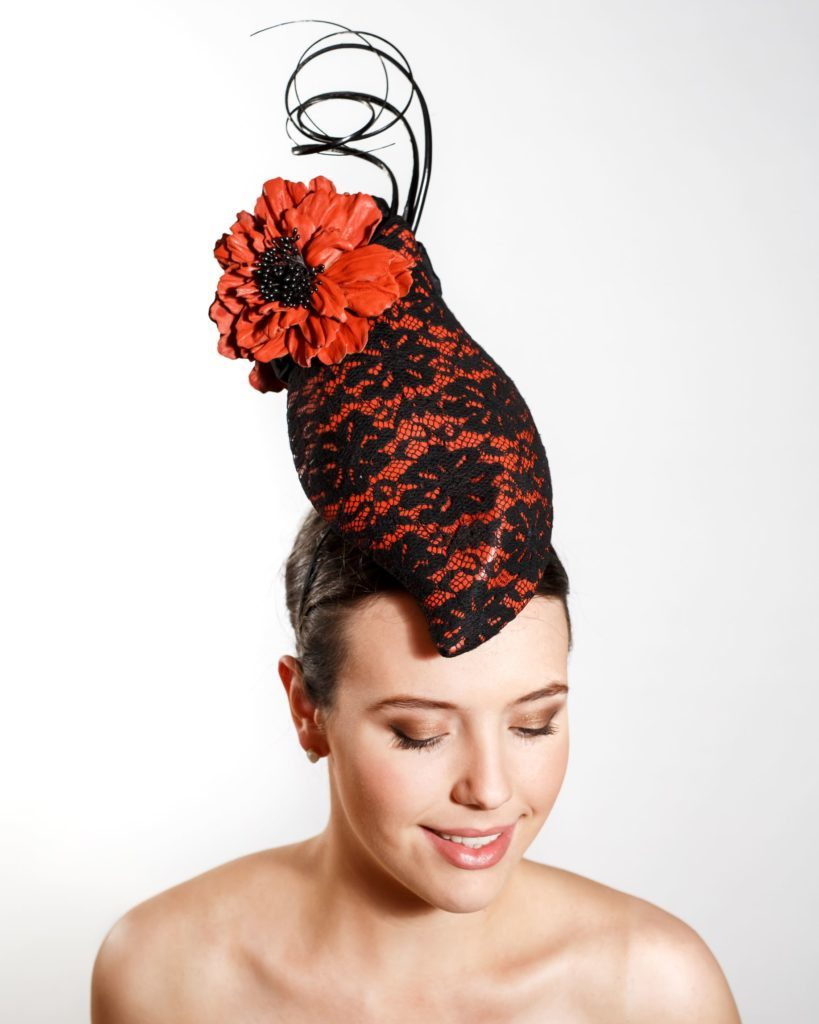 Orange Leather & Black Lace Cocktail Hat with Leather Flowers, Black Ribbon & Ostrich Barbs (Headband