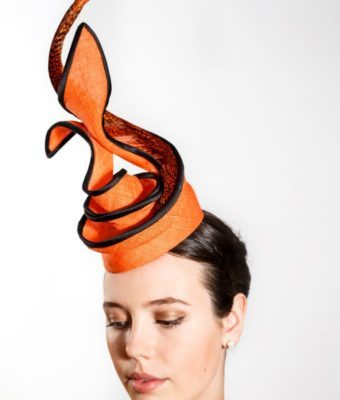Orange Straw Cocktail Hat with Pheasant Feather