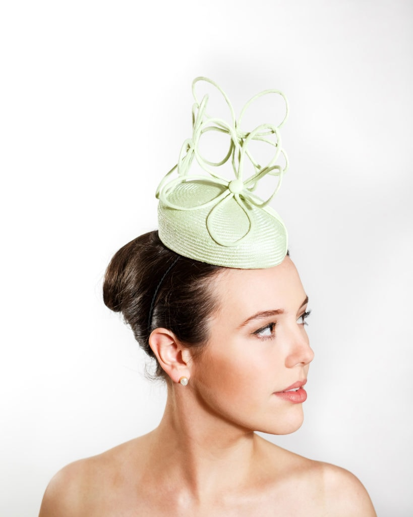 Pale Green Straw Cocktail Hat with Three Wired Flowers