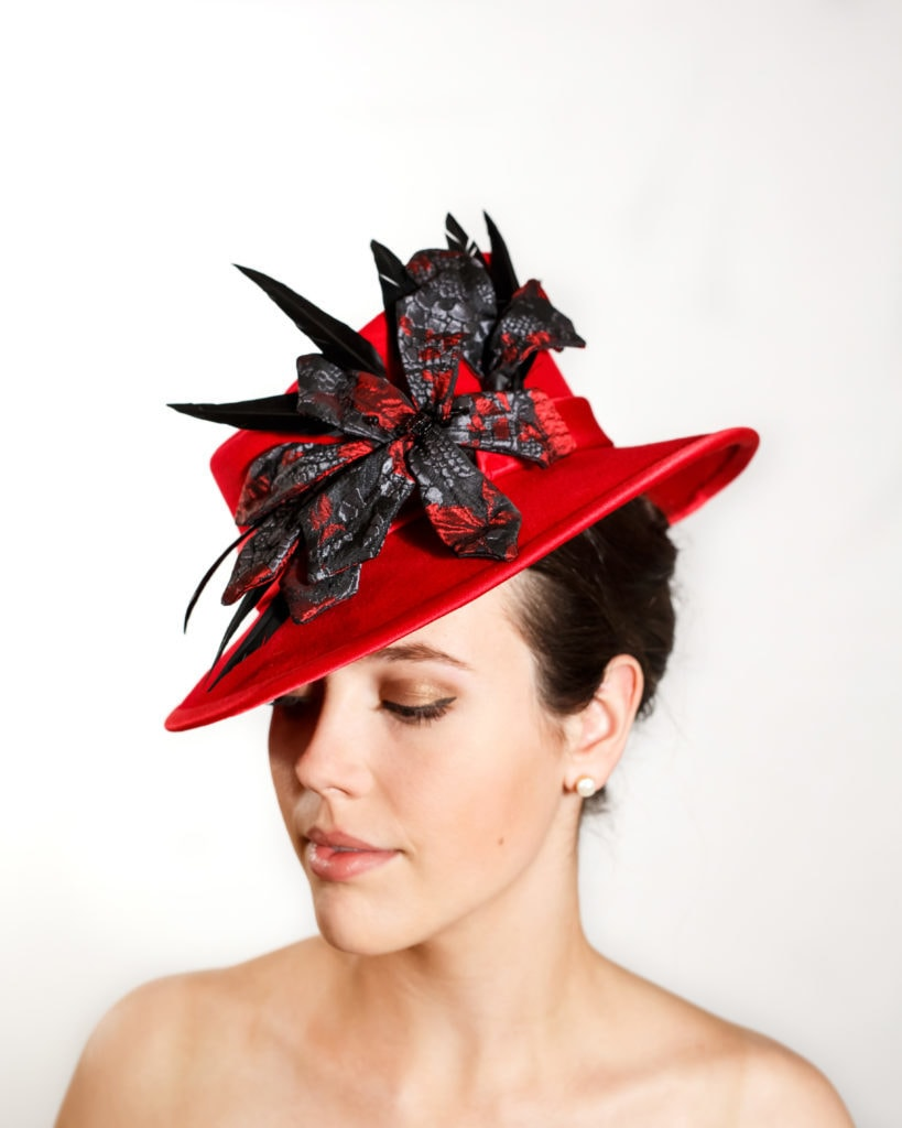 Red Fur Felt Hat with Red Silk Trimmed Brim, Brocade Flowers and Black Goose Feathers