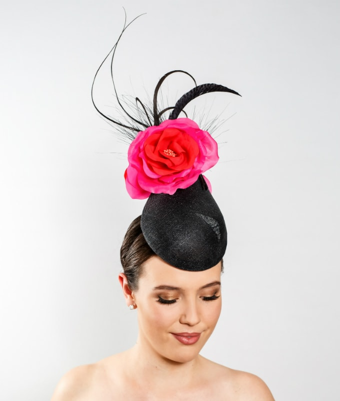 black-sinamay-cocktail-hat-with-pink-and-orange-silk-flower-feathers-and-barbs