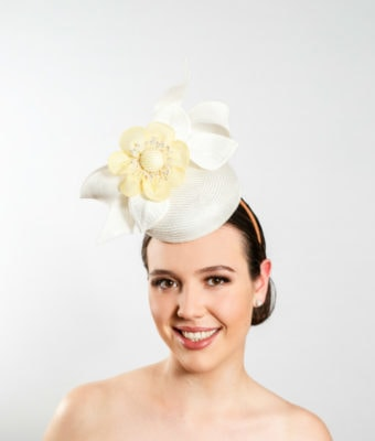 white-straw-cocktail-hat-with-white-sinamay-bow-braid-leaves-and-lemon-silk-flower