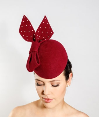 Burgundy fur felt cocktail hat with Swarovski pearl trim