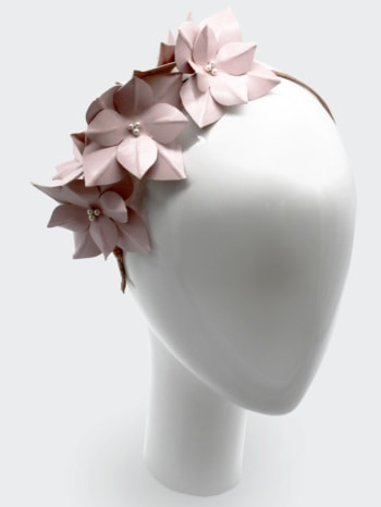 Baby pink leather hydrangea headpiece with Swarovski pearls $340
