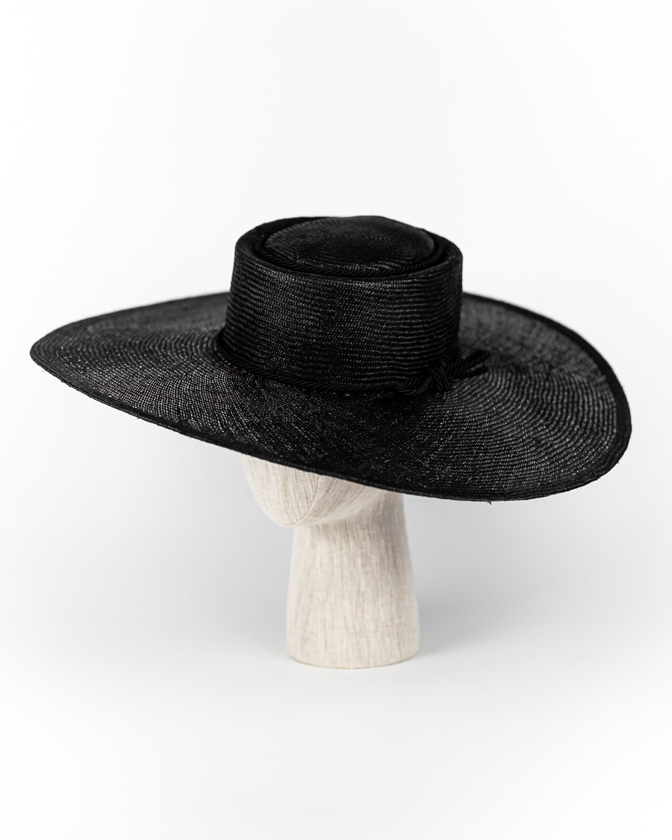 Black straw Walter White wide brim  with rope tie