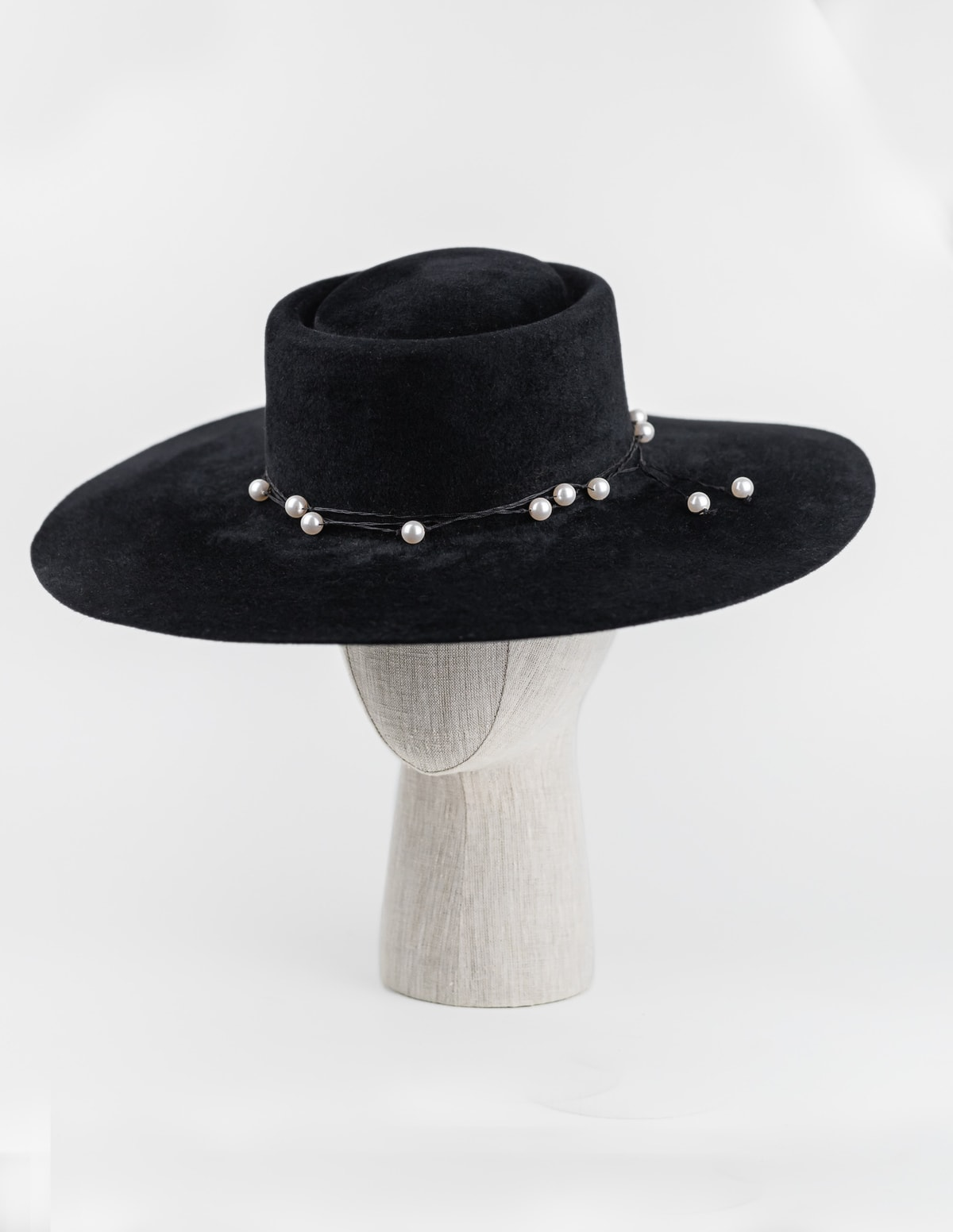 Black fur felt Walter White wide brim with Swarovski pearl leather tie $450