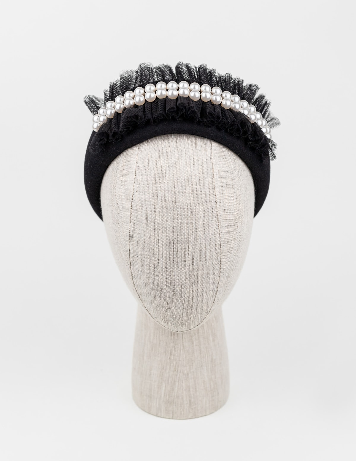 Black fur felt headpiece with tulle and Swarovski pearls $420