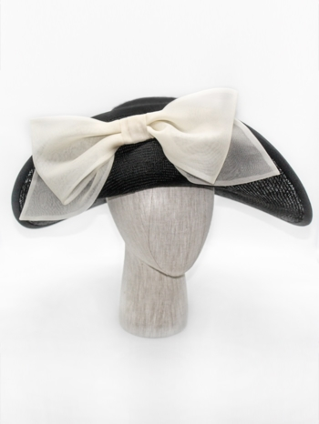 Black straw brim flip with white organza bow $450