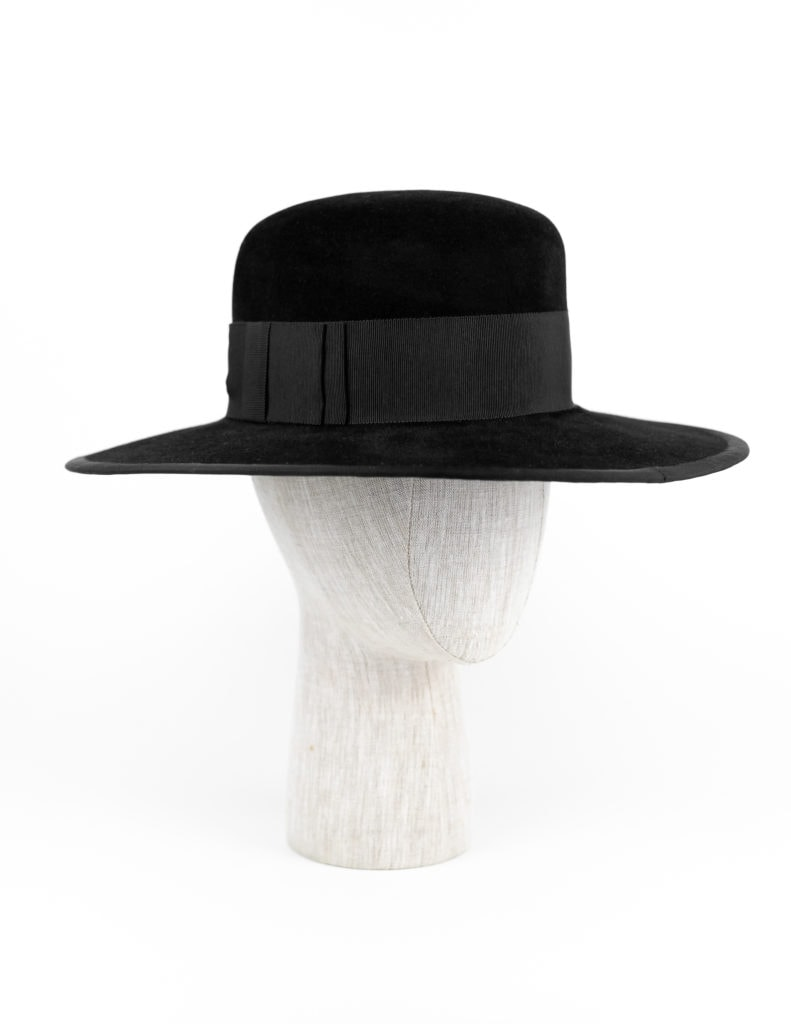 Black velour fur felt brim $440