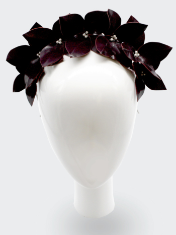Burgundy leather leaf headpiece with Swarovski pearls $340