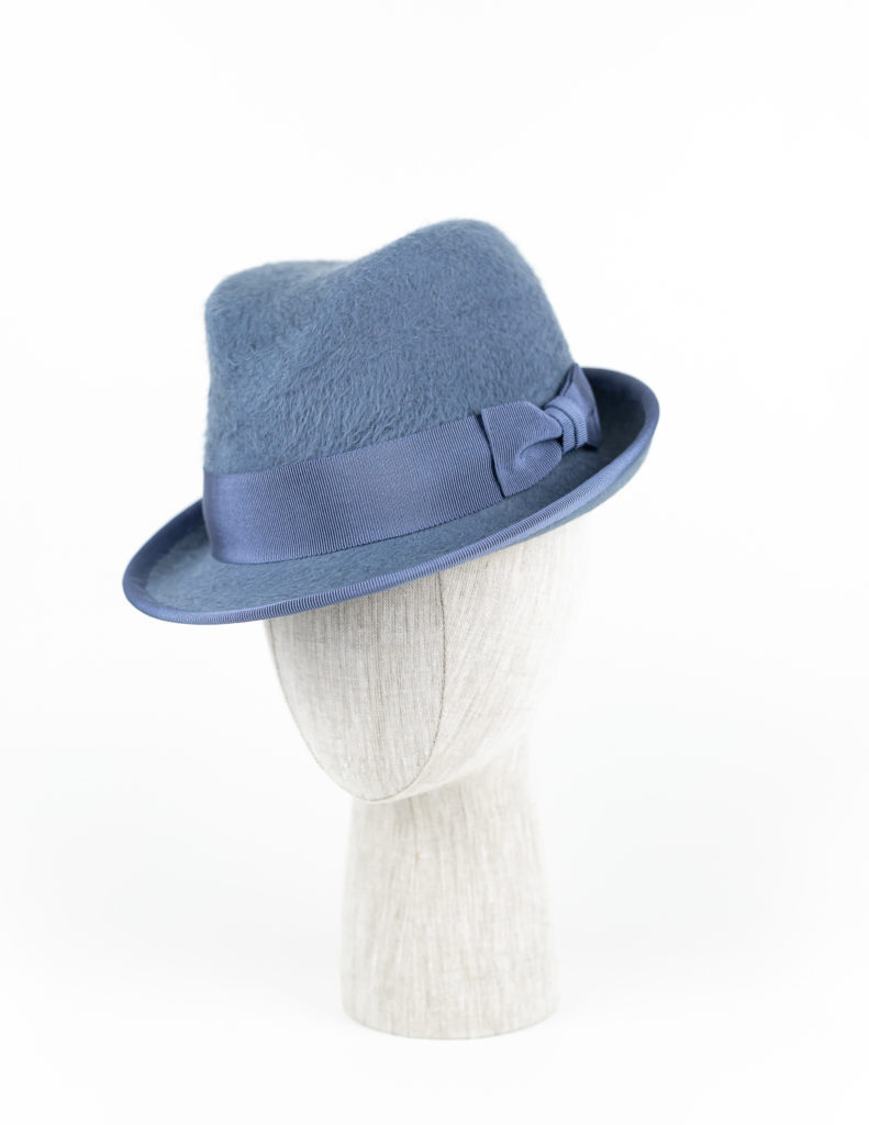 Dusty blue vintage melusine fur felt short brim fedora $420
