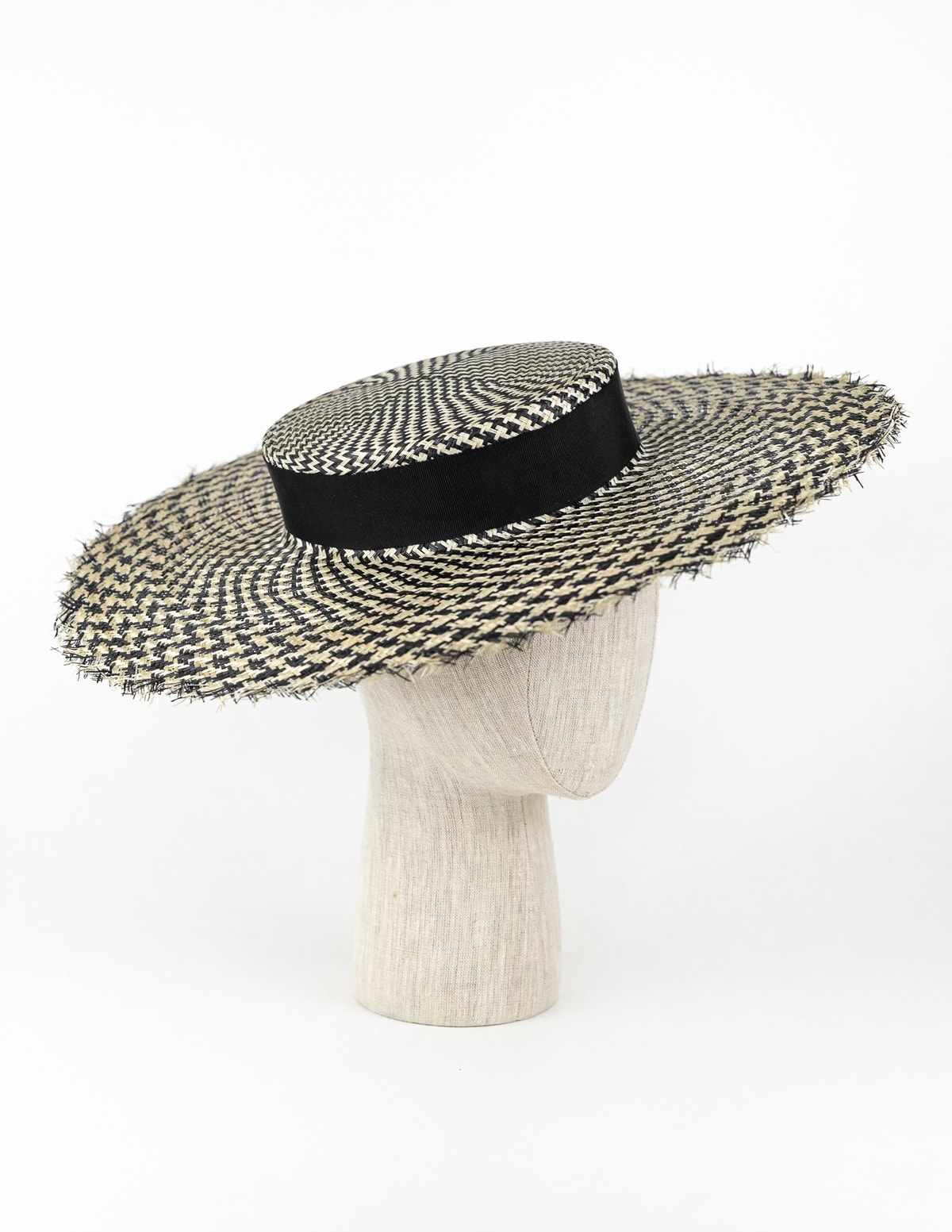 Black and ivory houndstooth wide brim straw boater $420