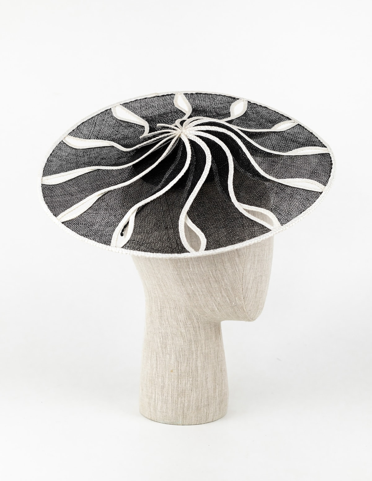 Black and white sinamay saucer hat $495