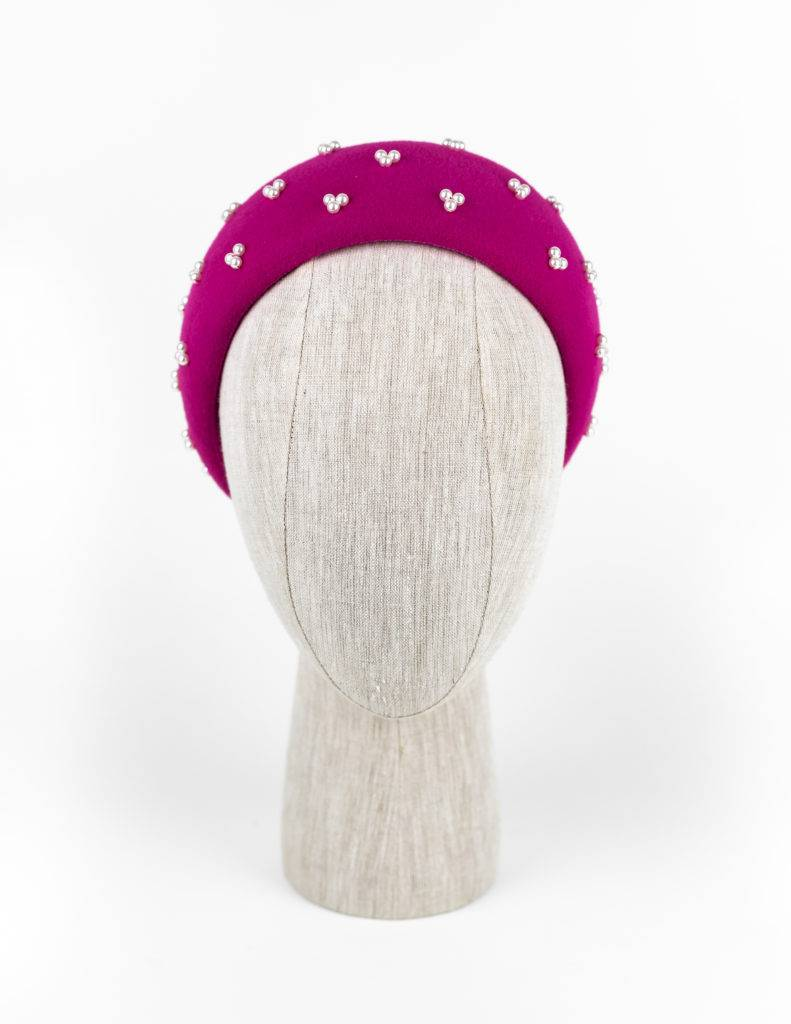 Magenta velour fur felt headpiece (wide) with Swarovski pearls $420