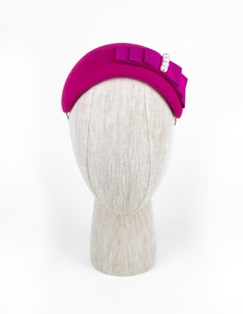 Magenta velour fur felt headpiece with Petersham ribbon and Swarovski pearls $440