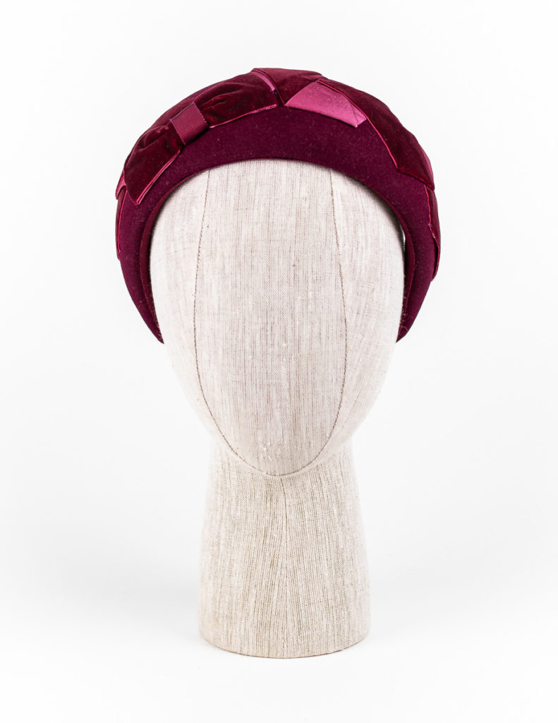 Burgundy fur felt headpiece with velvet ribbon trim $420