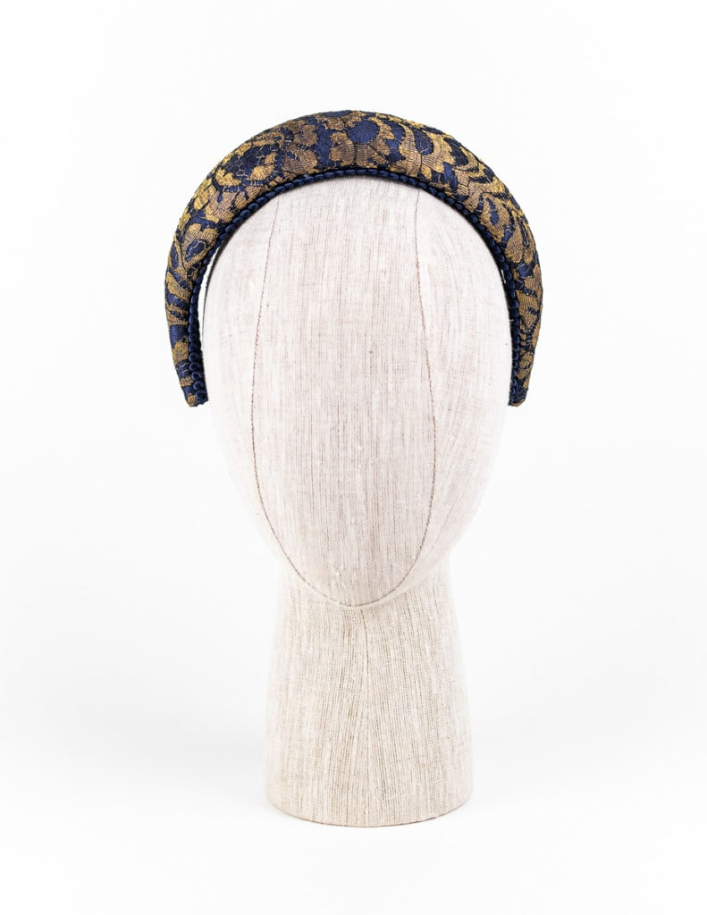Navy silk and gold lace headband $295