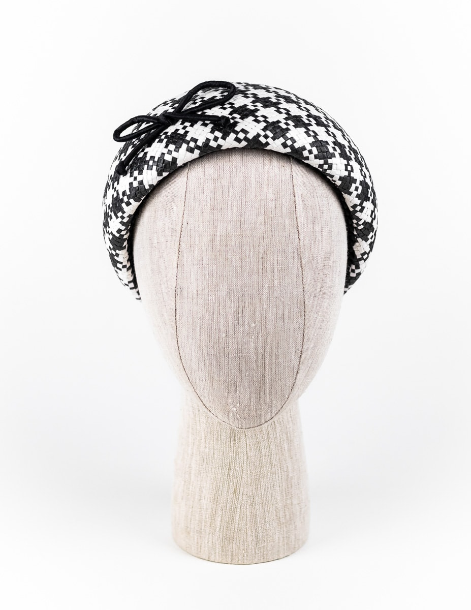 Black and white Houndstooth headpiece with piped silk bow $420