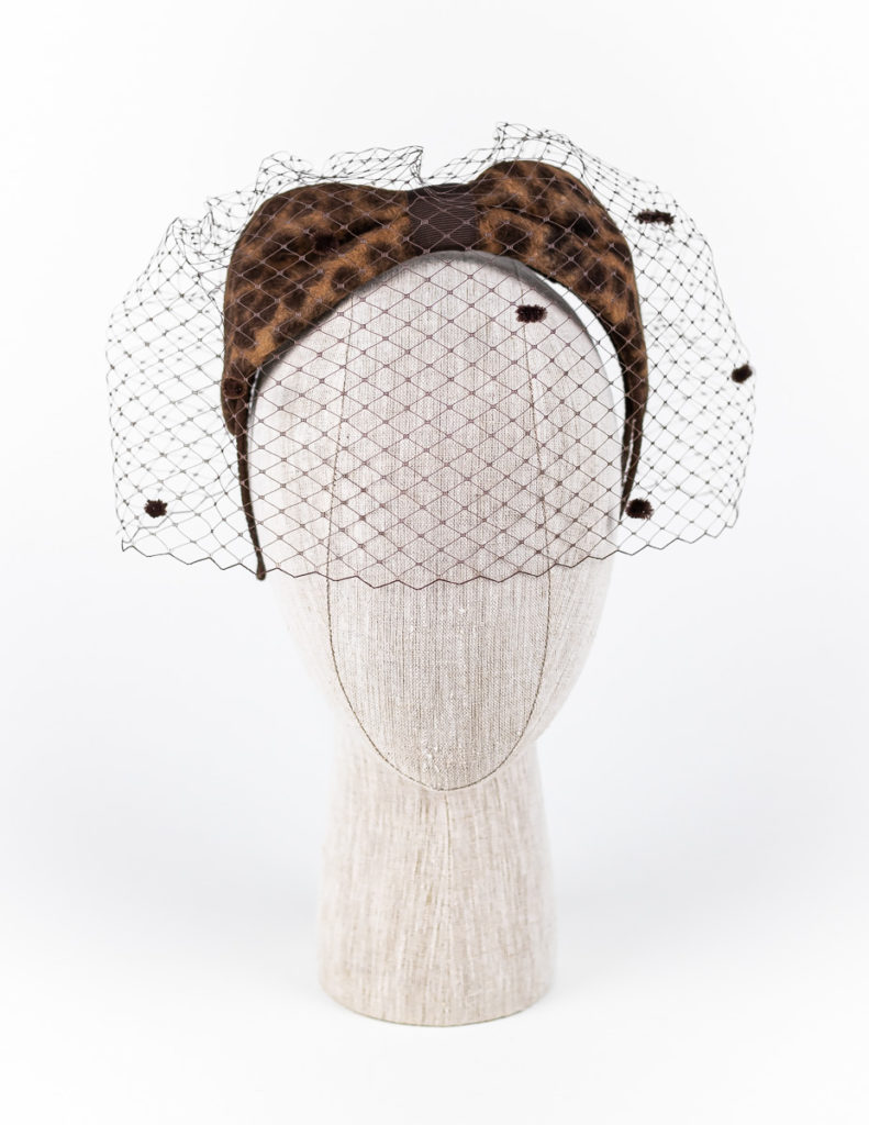 Jaguar fur felt ears with spotted veil $380