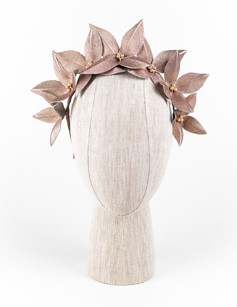 Rose gold leaf headpiece with Swarovski pearls